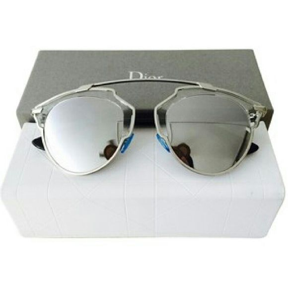Dior So real sunglasses New and Authentic  Dior So real sunglasses  Silver frame with silver mirror  Includes original case Dior Accessories Sunglasses