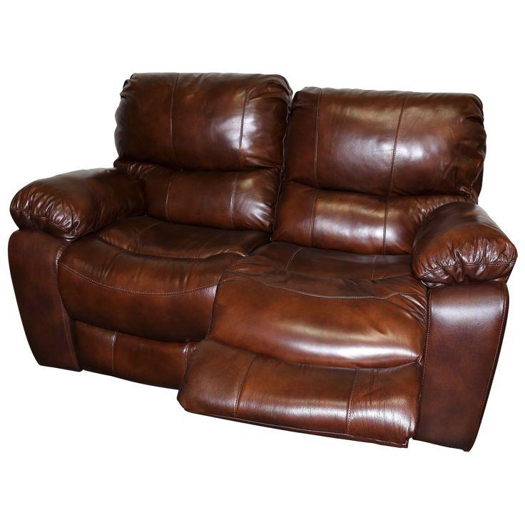 Porter Ramsey Cognac Top Grain Leather Dual Reclining Loveseat
