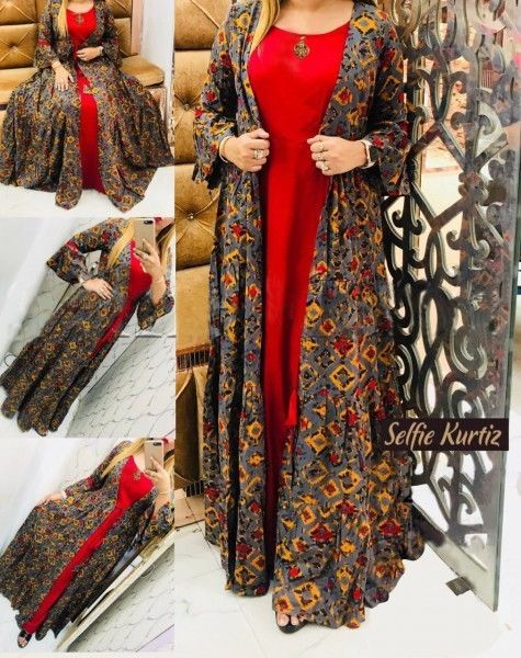 Details about Women indian kurta kurti Long shrug Dress top tees bottom Floral gown new-nk440