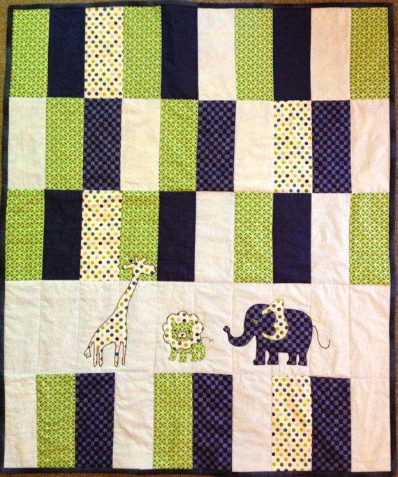 Baby quilt, navy, lime, polka dot, giraffe, elephant, safari