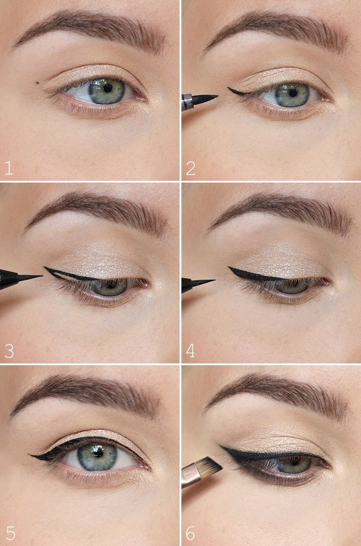 The most easiest way to do a winged eyeliner <3 - NUDE | Lily.fi http://likyon.com/category/eyes/eyeliner/