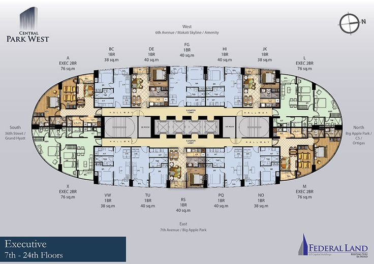 central park west executive floor plan 7th to 24th floor