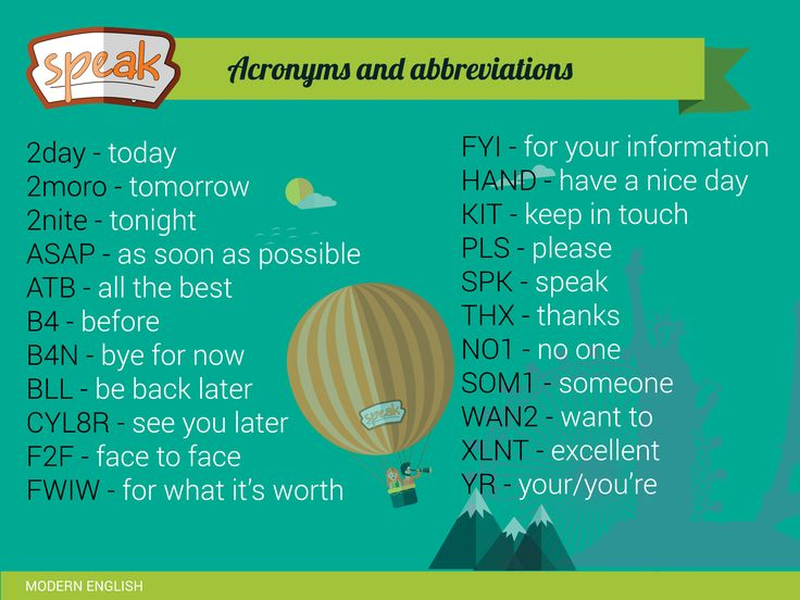 Acronyms and abbreviations. Have a look and try to use them. ;)