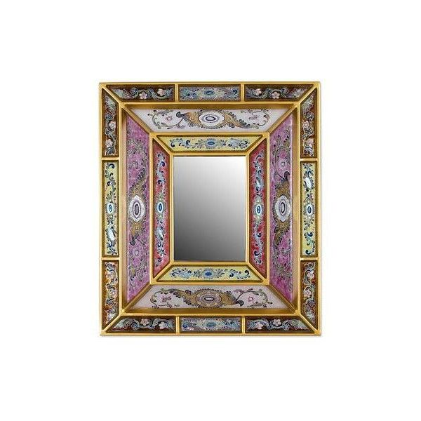 NOVICA Reverse Painted Glass Mirror with Floral Motifs from Peru ($80) ❤ liked on Polyvore featuring home, home decor, mirrors, gold tone, wall decor, floral home decor, traditional wall mirrors, glass mirror, traditional mirrors and glass wall mirror