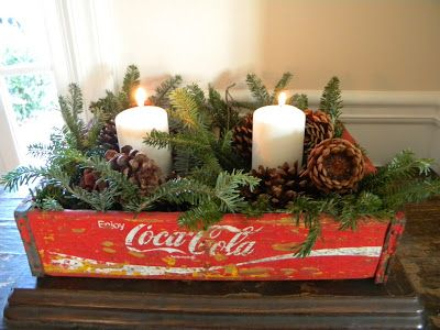 @Ashley Walters Nelson Christmas Decorations with a wooden coke crate