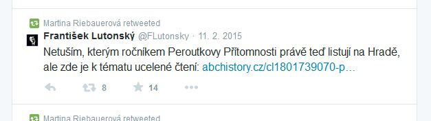 Redatorka ČT Martina Riebauerová sdílí dne 11. 2. 2015 na Twitteru článek serveru abcHistory.cz