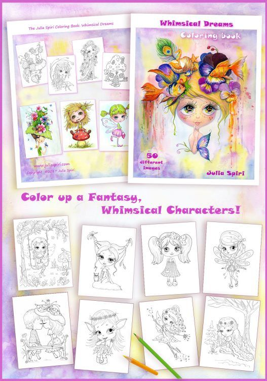 Get your Coloring Book on Amazon!  Whimsical Dreams.  The Julia Spiri First Coloring Book!