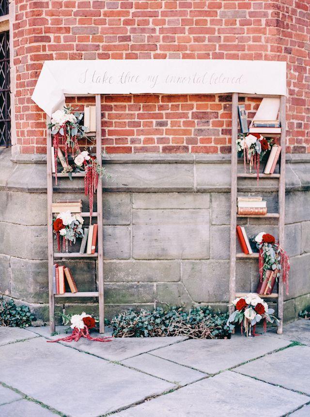 Books and ladder wedding ceremony   Nikki Santerre Photography   see more on: http://burnettsboards.com/2014/05/loving-type-wedding-inspired-love-letters/ #wedding #ceremony