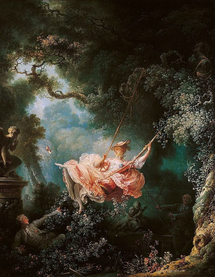 The Swing By Jean Honore Fragonard 1767 - rococo emphasised the airy grace and refined pleasures of the salons.