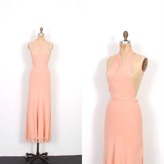 Vintage 1990s Dress / 90s Silk Halter Maxi Dress / Peach Pink