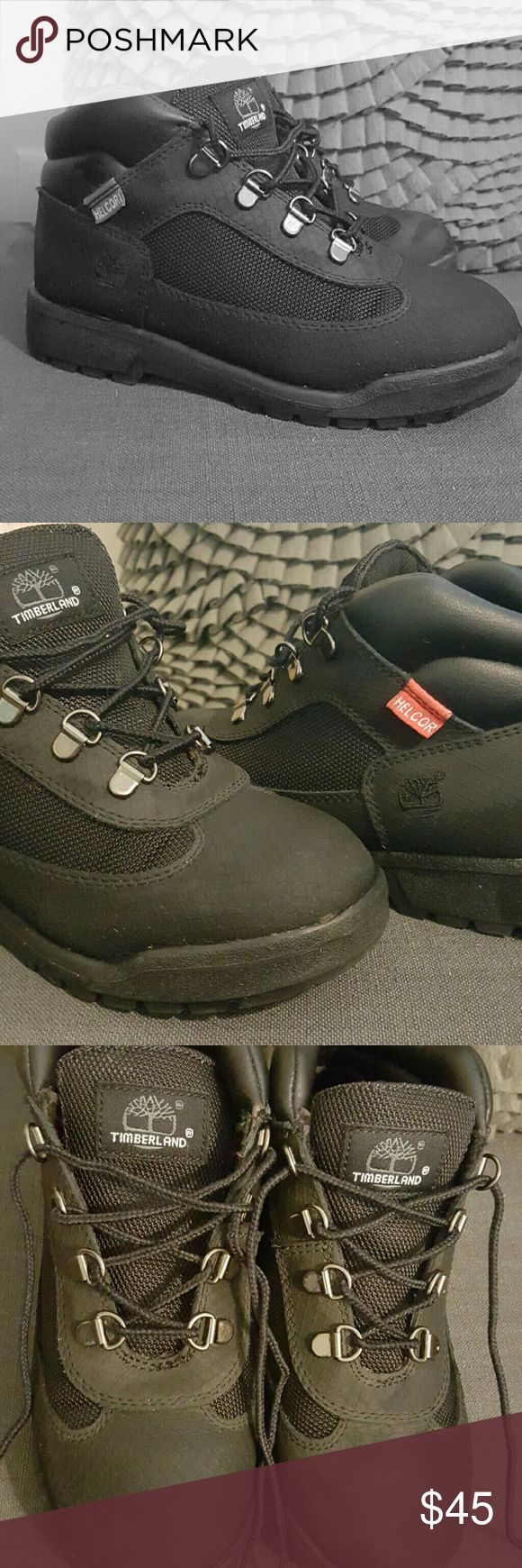 Helcor Timberland Boots Helcor Timberland Boots for little girl or little boy even can be a unisex boot. Black in color and great for the winter to come. I believe they are weather resistant and easy to clean. Slight wear but not very visible. Timberland Shoes Boots