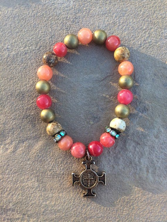 Red and Jasper bracelet with San Benito Cross by CrossesandSaints