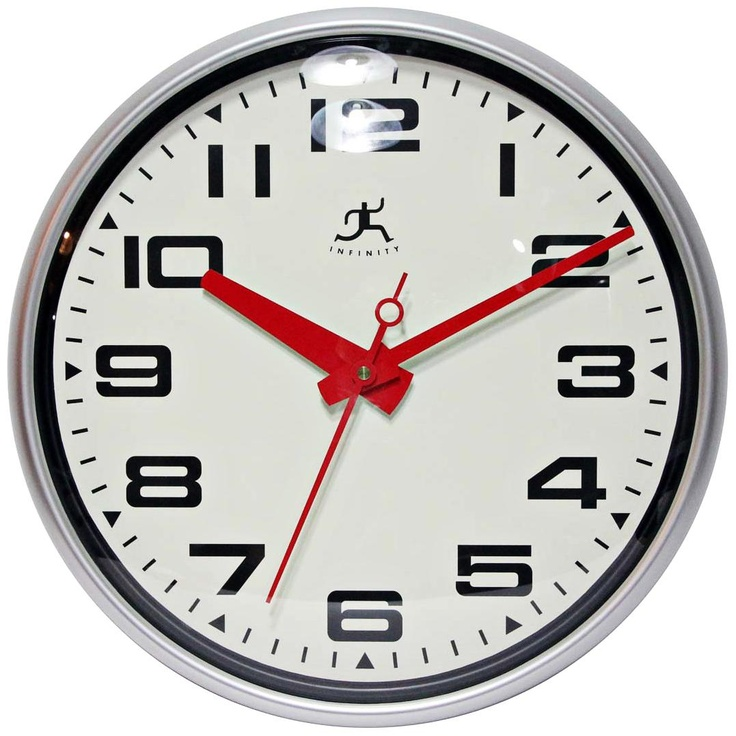 """Lexington Ave. 15"""" Round Red and Matte Silver Wall Clock -"""