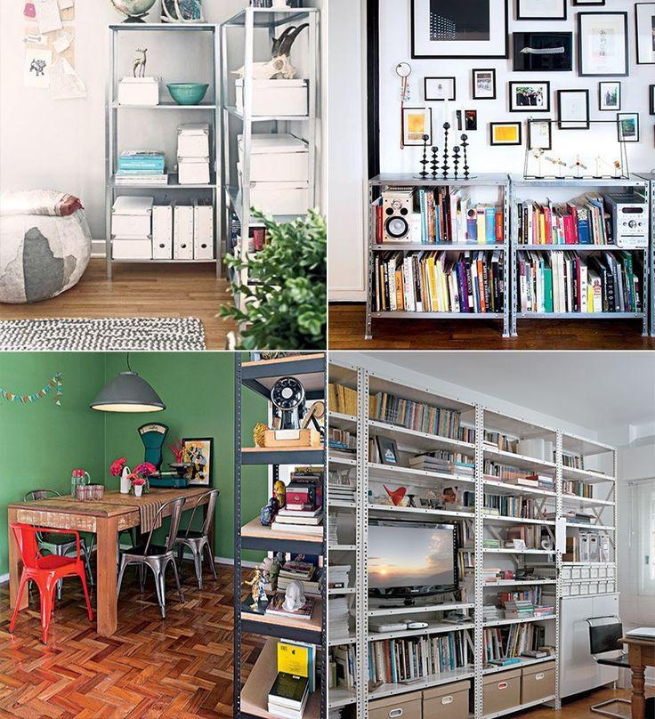 Estantes de aço para decorar e organizar a casa! Elas são baratas, leves e excelentes para guardar livros, revistas, objetos decorativos e até louças! As estantes de aço têm aparecido tanto em escritórios quanto em salas, cozinhas, quartos, corredores, closets e até no banheiro! É a opção perfeita para quem curte decorações modernas com um toque de estilo industrial!
