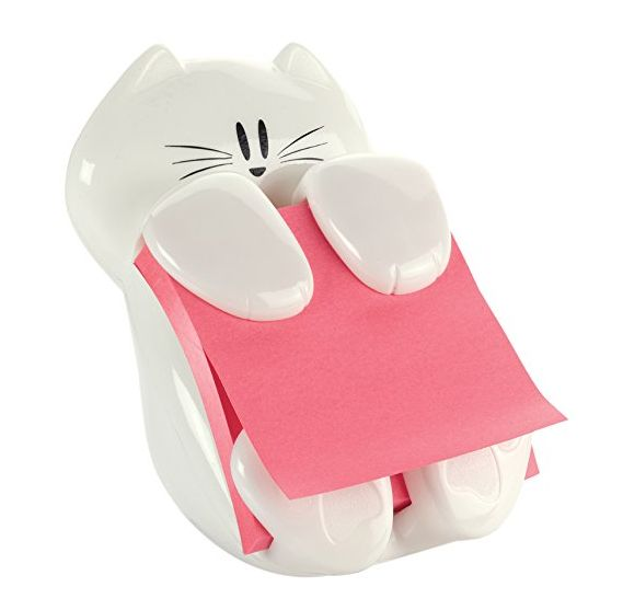 A sweet white kitten to hold your Post-its. | 35 Insanely Awesome And Inexpensive Things You Need For Your Desk