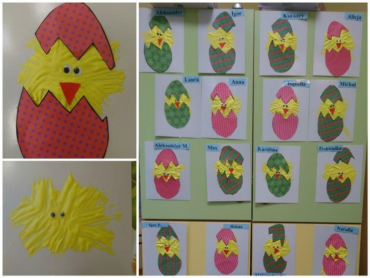 Kurczak pisanka, jajko, farba piankowa = pianka do golenia + farba + klej DIY ART ACTIVITIES FOR KIDS