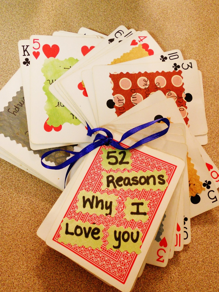 "My own rendition of the ""52 Reasons Why I Love You""....I made this for the boyfriend for our 2 year anniversary. Used scrapbook paper for the insides of the cards, which turned out really great :) He loved it!"