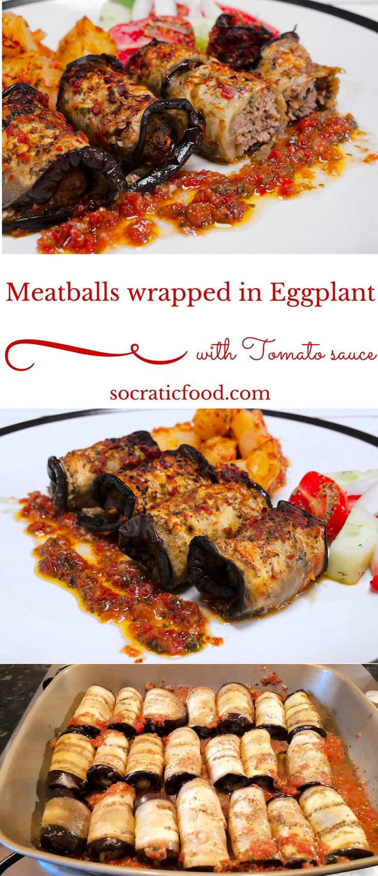 Meatballs Wrapped in Roasted Eggplant Slices