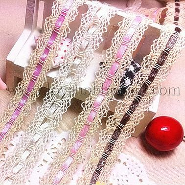 torchon lace trims with ribbon mixed color cotton