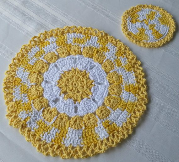 Pretty up your eating space, a cotton place mat or trivet with a matching coaster. See details at: Etsy.com/shop/GrammysCustomCrochet