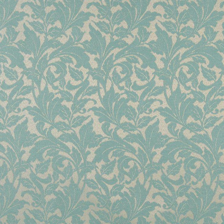 Upholstery Fabric K7715 Lagoon/leaf Damask/Jacquard, Marine, Outdoor/Indoor
