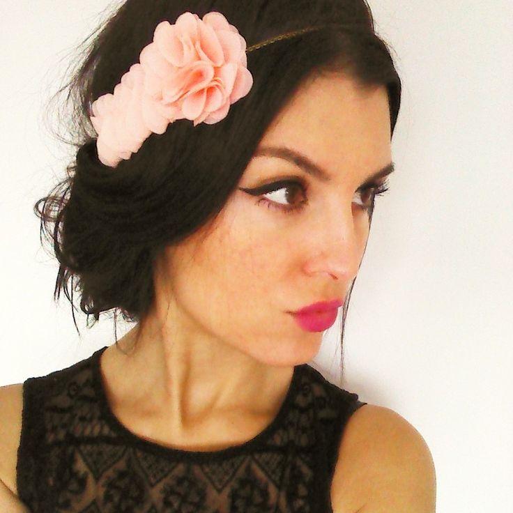 Headband mariage bohème bijou de cheveux avec fleurs corail clair original  romantique et vintage  Accessoires