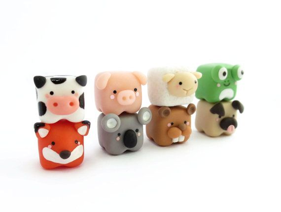 Cute cubed animal miniature Polymer Clay Figure by tinyclaymade