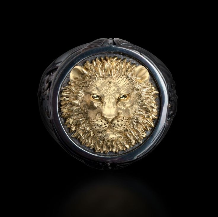 """""""The Lion"""" Ring in Oxidized Sterling Silver & 14K Gold In the Capitan Collection of fine jewelry for men, this ring stands out. The Lion and The Dragon are"""