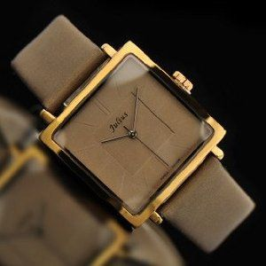 Square Genuine Leather Band Wrist Watch Women Lady Brand Gift with GIft Box