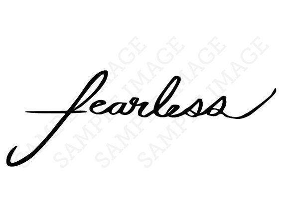 Fearless Calligraphy Cursive Handwriting Fake Temporary Tattoo ...