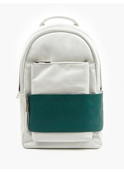 Eastpak x Nicomede White Green Leather Backpack