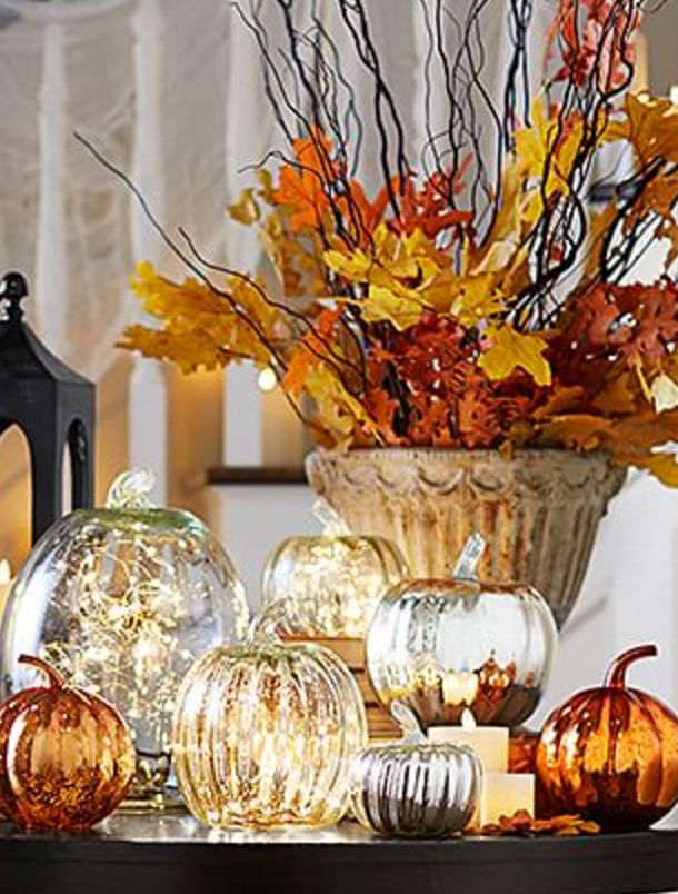 recycled glass mercury pumpkins - Recycled Halloween Decorations