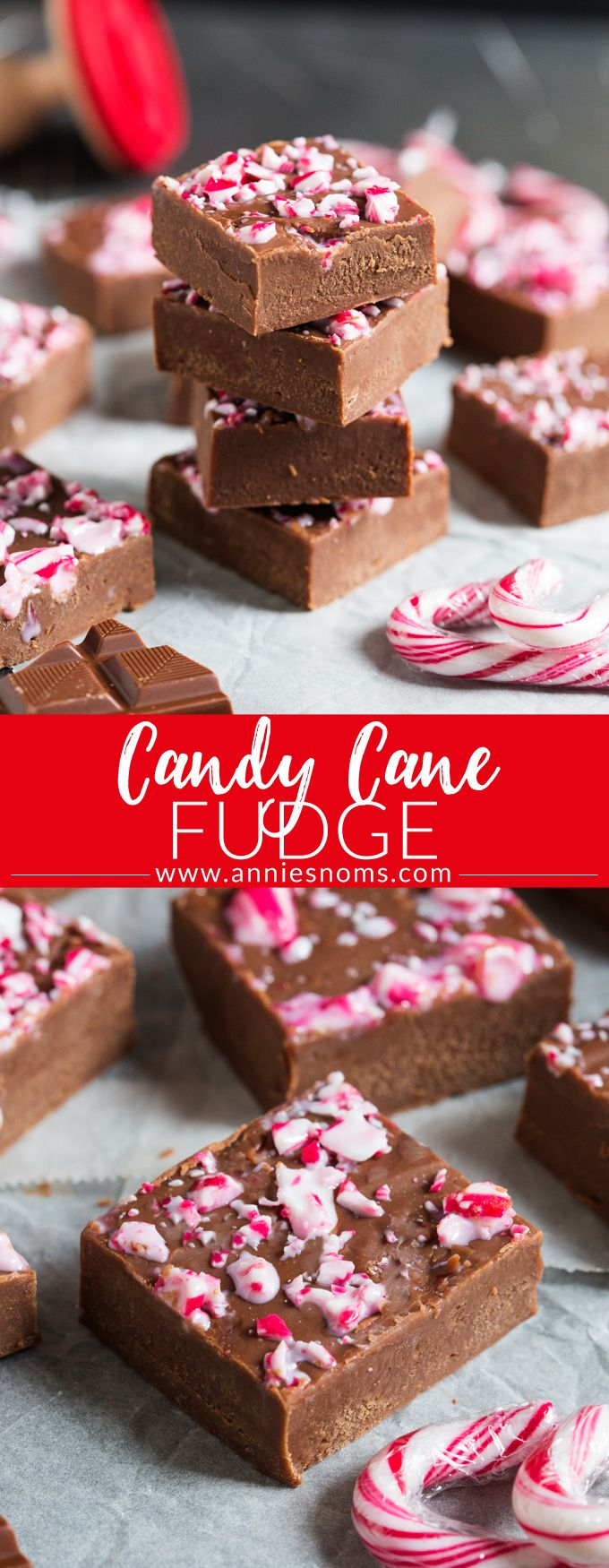 Smooth, chocolatey, filled with peppermint and with a crunchy top, this melt in your mouth Candy Cane Fudge is the perfect gift to make this #Christmas! #candycane #fudge