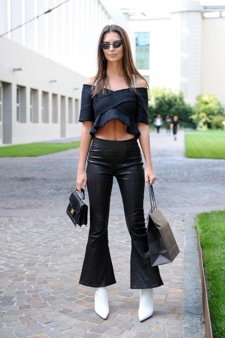 Emily Ratajkowski wearing Andy Wolf Akira Sunglasses, The Kooples Emily Bag in Black and Proenza Schouler Off the Shoulder Top