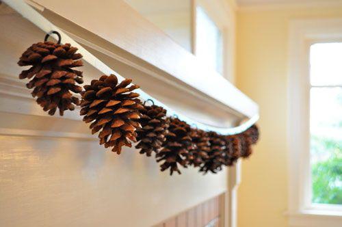 pinecone garland: Idea, Cones Garlands, Pinecones, Fall Crafts, Ribbons, Pine Cones Crafts, Diy, Mantles, Pinecone Garlands
