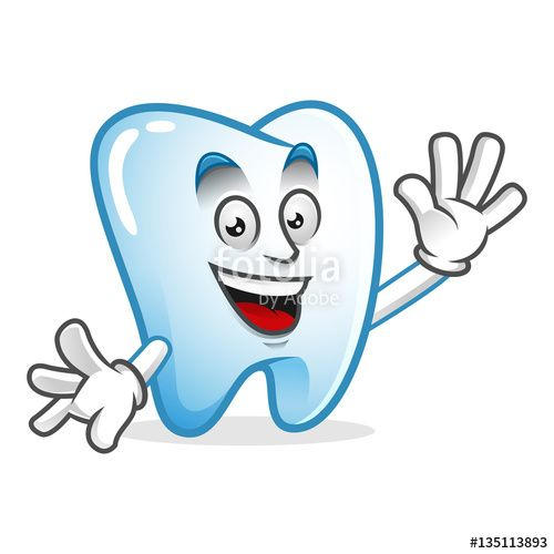 """Download the royalty-free vector """"Greeting tooth mascot, tooth character, tooth cartoon vector """" designed by IronVector at the lowest price on Fotolia.com. Browse our cheap image bank online to find the perfect stock vector for your marketing projects!"""