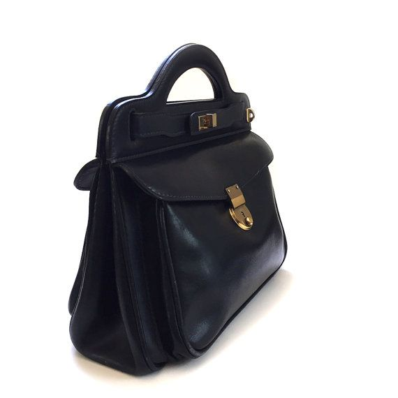 Vintage MARK CROSS Black Leather Tote Bag by lakesidecottage