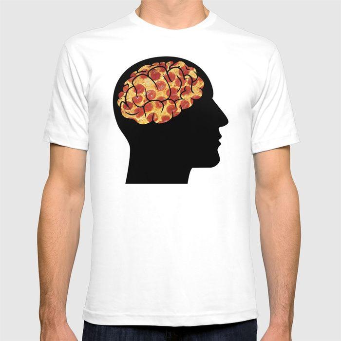 """Pizza Brain"" shirt design by DrFink  #pizza #brain #art #artist #funny #pizzabrain #design #graphicdesign #GraphicTee #society6 #style #shirt #tee"