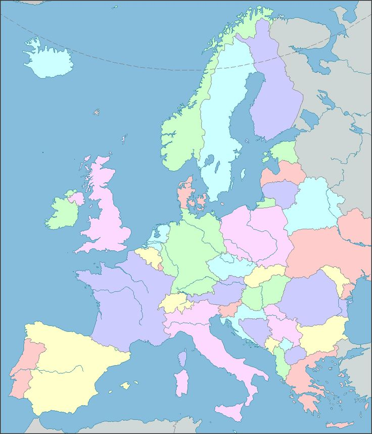 EUROPE MAP  Interactive Map of Europe showing countries, rivers, lakes, bays and seas.  European cities can be shown or hidden on the Europe Map.