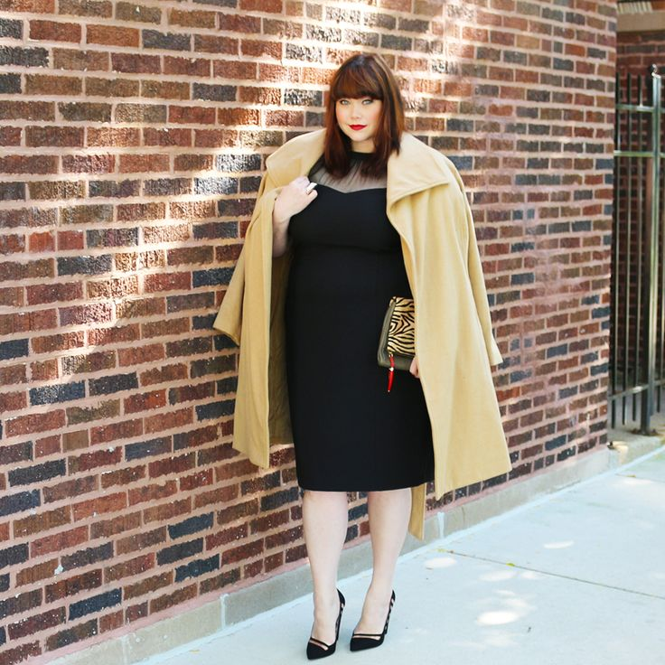 Plus Size Style Inspiration from Style Plus Curves: A chic and classic black and camel look! Maggy London Illusion Neck Sheath Dress; Jessica London Camel Belted Wrap Coat; Vince Camuto Tiger Print Clutch; Mesh Insert Court Shoes