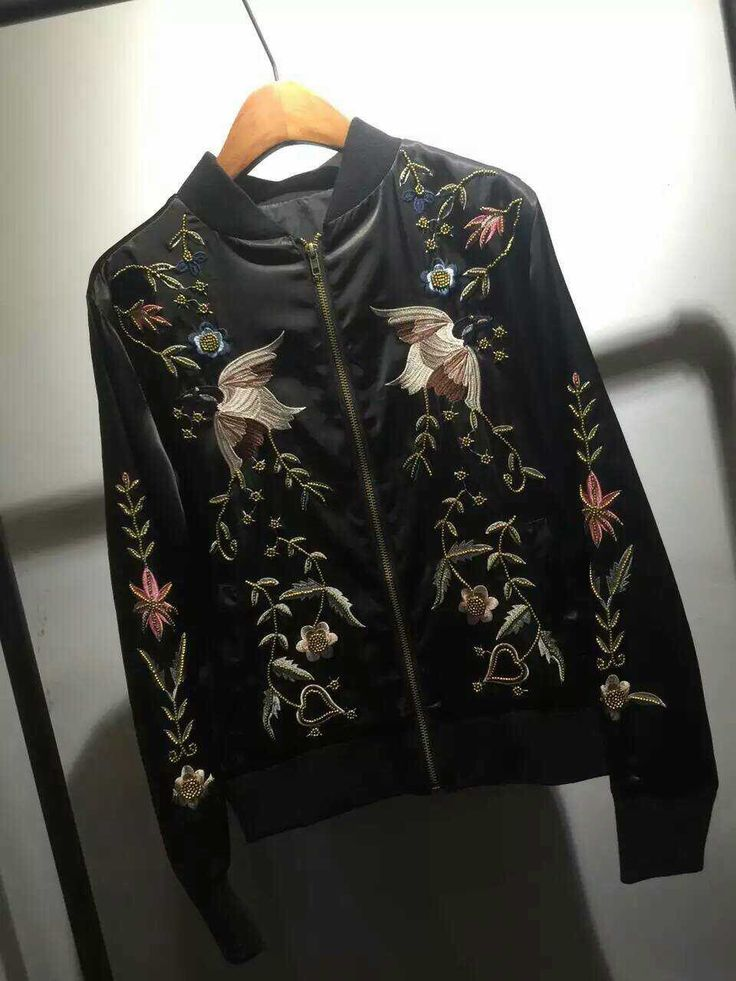 black-embroidery-bomber-jacket-autumn - Now Available at Pasa Boho. Free Spirit hippie girls sharing woman outfit ideas. bohemian clothes, cute dresses and skirts. Fashion trend and styles from hippie chic, modern vintage, gypsy style, boho chic, hmong ethnic, street style, geometric and floral outfits.  We Love boho style and embroidery stitches.