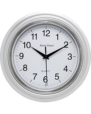 New Year Deal on Kiera Grace Aster Round Wall Clock, 10-Inch, 1.5-Inch deep, Silver