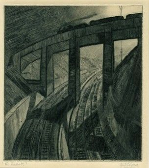 CYRIL EDWARD POWER (1874-1951)  View along curved railway track, train crossing viaduct overhead. c.1929 Drypoint, on thick cream paper