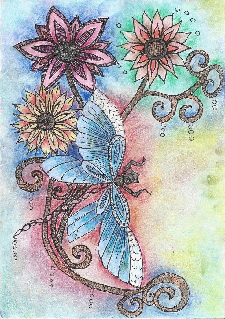 szitakötő akvarell - pasztell