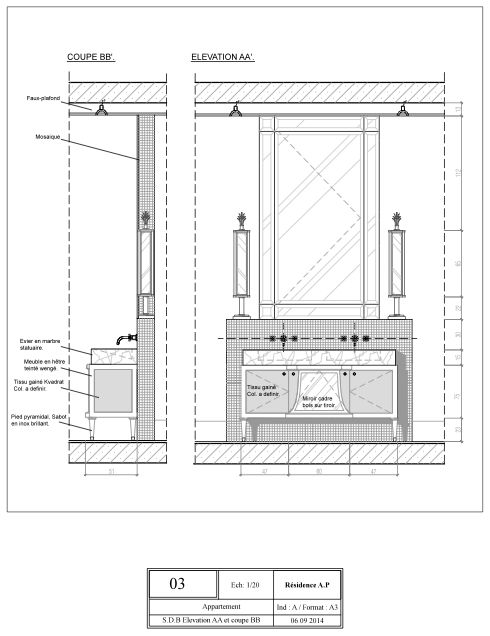 Technical drawing. Elevation AA and section BB : double sinks Furniture for bathroom.