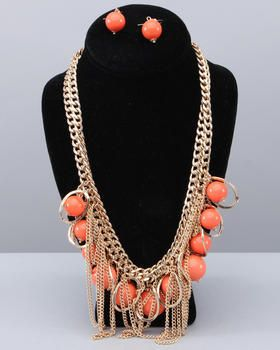Fashion Lab chichi panache coral feer necklace and earring set thestylecure.com