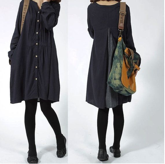 Loose Fittng Long Sleeved Blouse- Women Shirt - Navy Blue on Etsy, $54.00