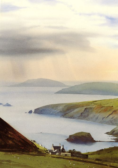 Bardsey from Rhiw, greeting card from an original watercolour painting by Rob Piercy