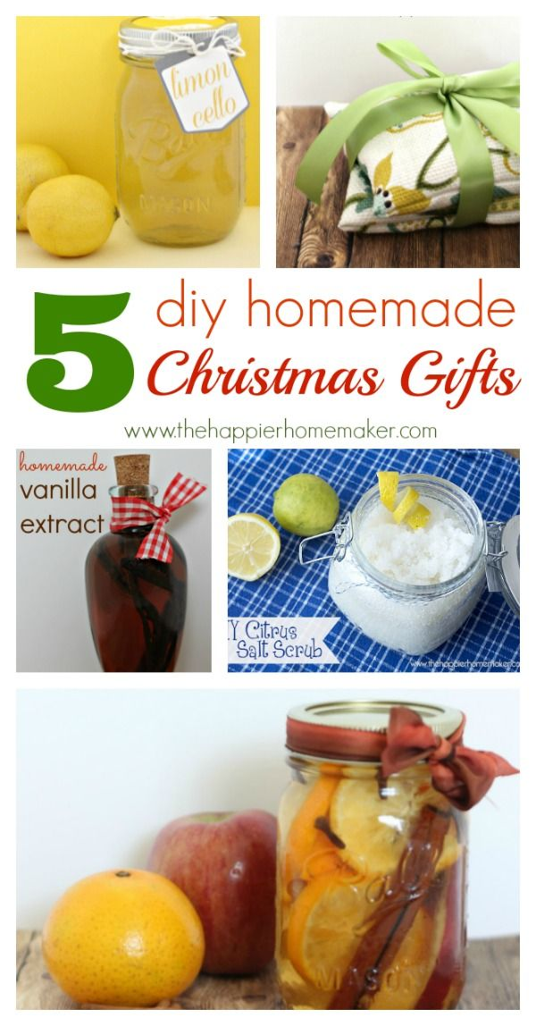 We love these 5 DIY Homemade Christmas Gifts from www.thehappierhomemaker.com Great gifts for #teachers #neighbors #volunteers that you can create at home.