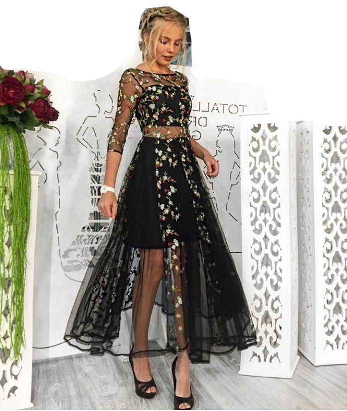 61be71adeccd Fitailor verano mujeres vestido elegante encaje Floral bordado negro ...